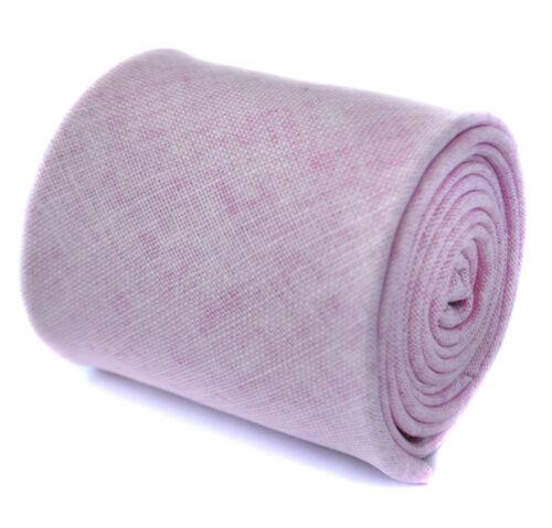 Frederick Thomas plain pale blush pink textured linen tie wedding groomsmen