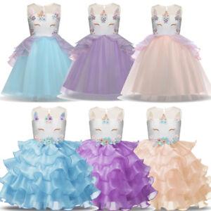 Infantil-Unicornio-Fruncido-Vestido-con-Tutu-Muchacha-Flor-Dama-Honor