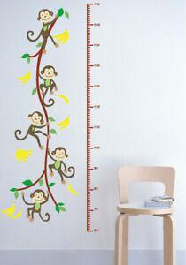 Affe-Monkey-Wandsticker-Wandtattoo-Kinder-Banane-Hoehe-Aufkleber-Kinderzimmer