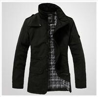 New Black Men's Jacket Trench Coat Blazer Plus Cotton Inside 4 Size M L XL XXL