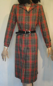 Vintage-Plaid-Dress-Wool-Red-Gray-Country-Miss-Size-8-B36