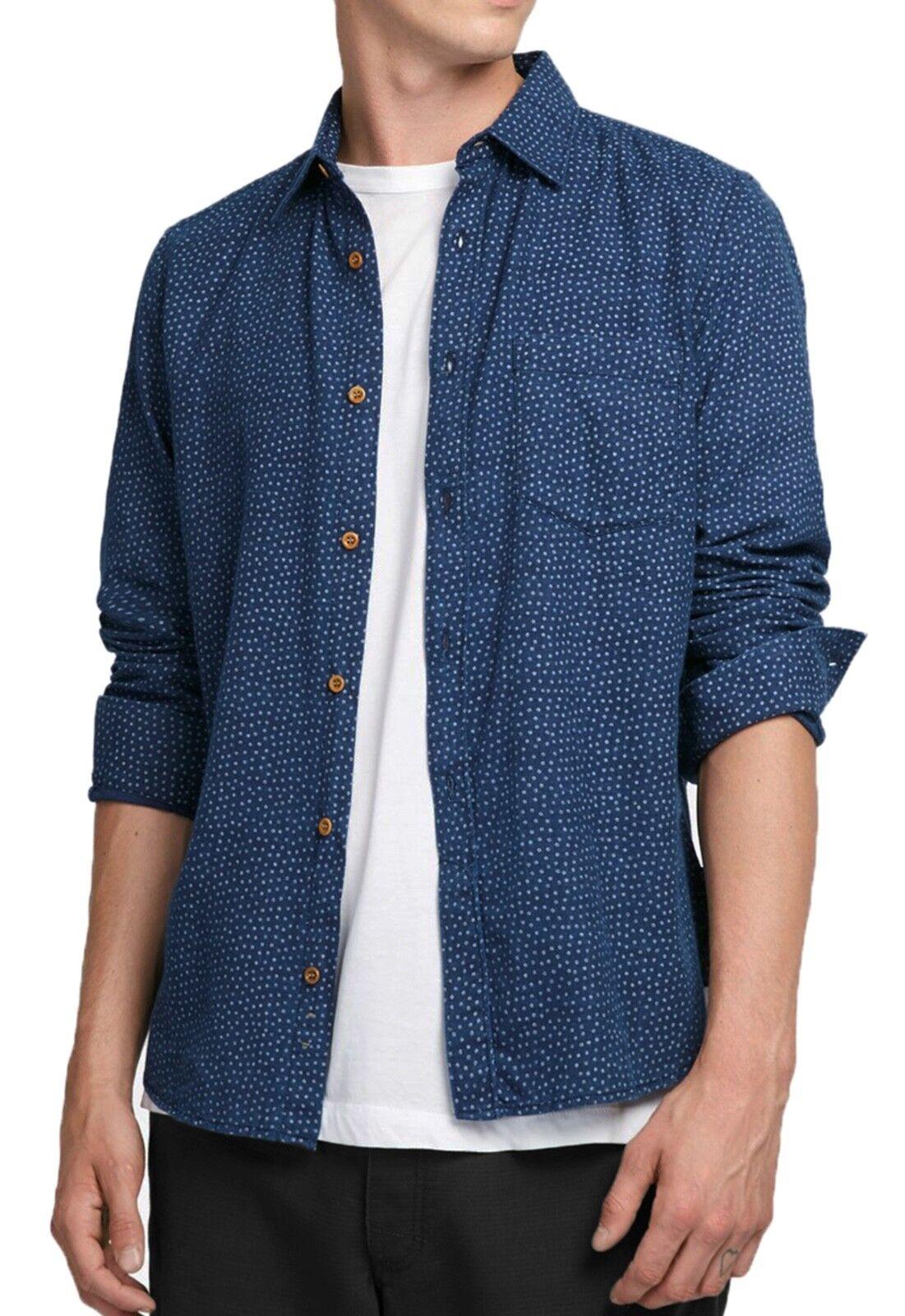 French Connection Manica Lunga Camicie Nuove BLU SLIM FIT camicia di cotone stampa floreale