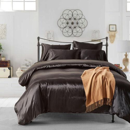Chic Satin Silk Bedding Set Duvet Quilt Cover Pillow Case Sheet Twin//Queen//King