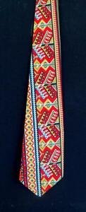 WIDE-VINTAGE-1970-039-S-TURQUOISE-GOLD-amp-RED-PRINT-COTTON-TIE-57-034-L-X-4-034-W