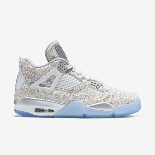 low priced 09bfe 9e1ab Nike Air Jordan 4 Retro Laser IV Size 10 White Chrome Silver 705333 105