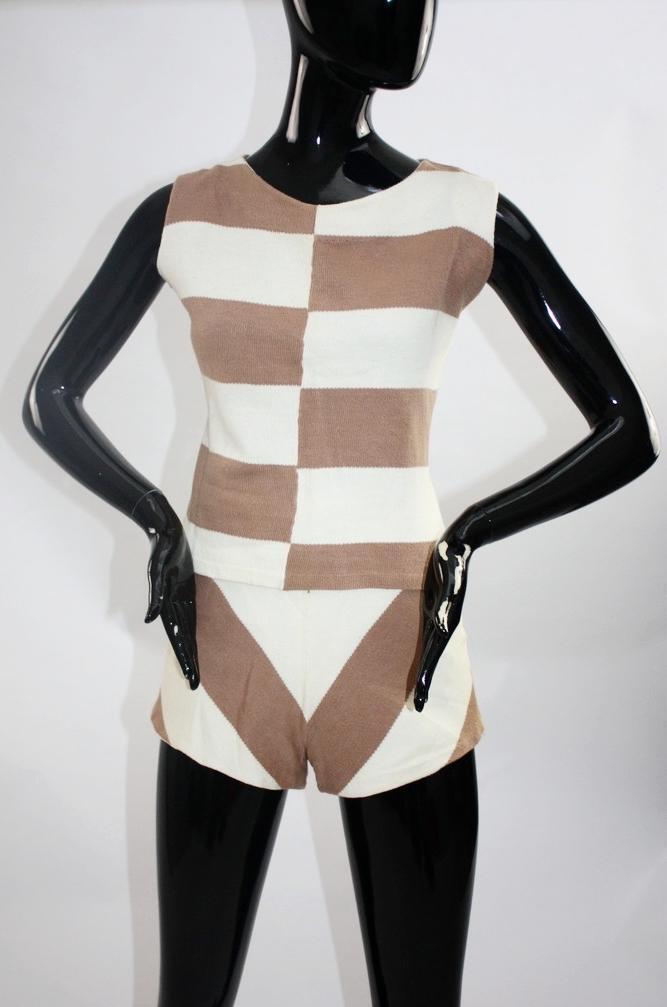 Vintage 1950s chevron stripe knit playsuit - image 1