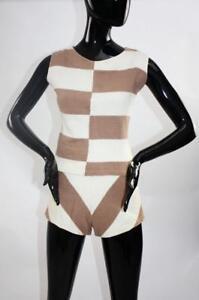 Vintage 1950s chevron stripe knit playsuit