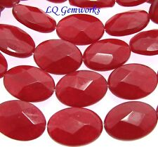 """15.5"""" Strand RUBY RED JADE 10x14mm Faceted Oval Beads BOGO"""