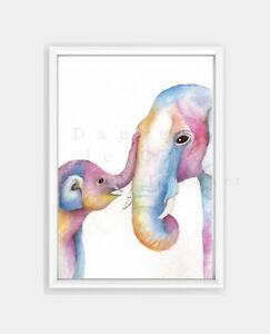 Details About Mother And Baby Elephant Print Nursery Prints Colourful Animals S