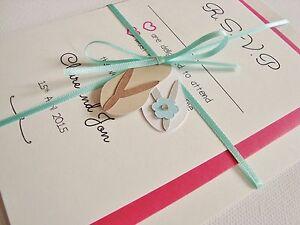 Personalised Ribbon Tied Flip Flop Beach Theme Wedding Invitation