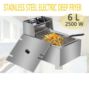 2500W Electric Deep Fryer Stainless Steel 6L Tank Non Stick Pan Safe Handle