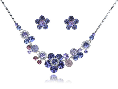 Cute Purple New Crystal Element Proper Daisy Flower Earring Necklace Set