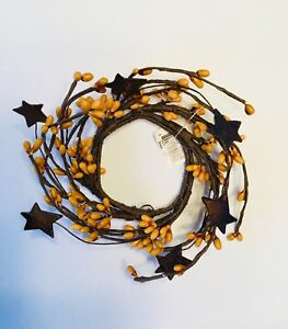 """Pip Berry & Rusty Star Candle 2"""" Ring Primitive Mini Wreath Gold Mustard NWT"""