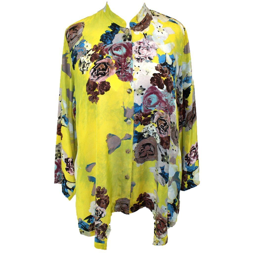Citron Clothing Art To Wear Floral pinks Yellow 100% Silk Button Blouse Plus 2X