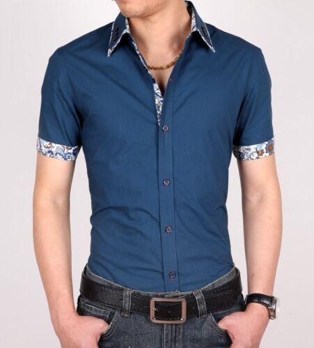 Luxury Camisas Men/'s Dress Shirts Summer Short Sleeves Casual Slim Fit SD70