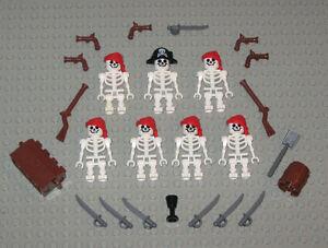 LEGO-Minifigures-7-Skeleton-Pirates-Toys-Army-Guns-Swords-Muskets-Lego-Minifigs