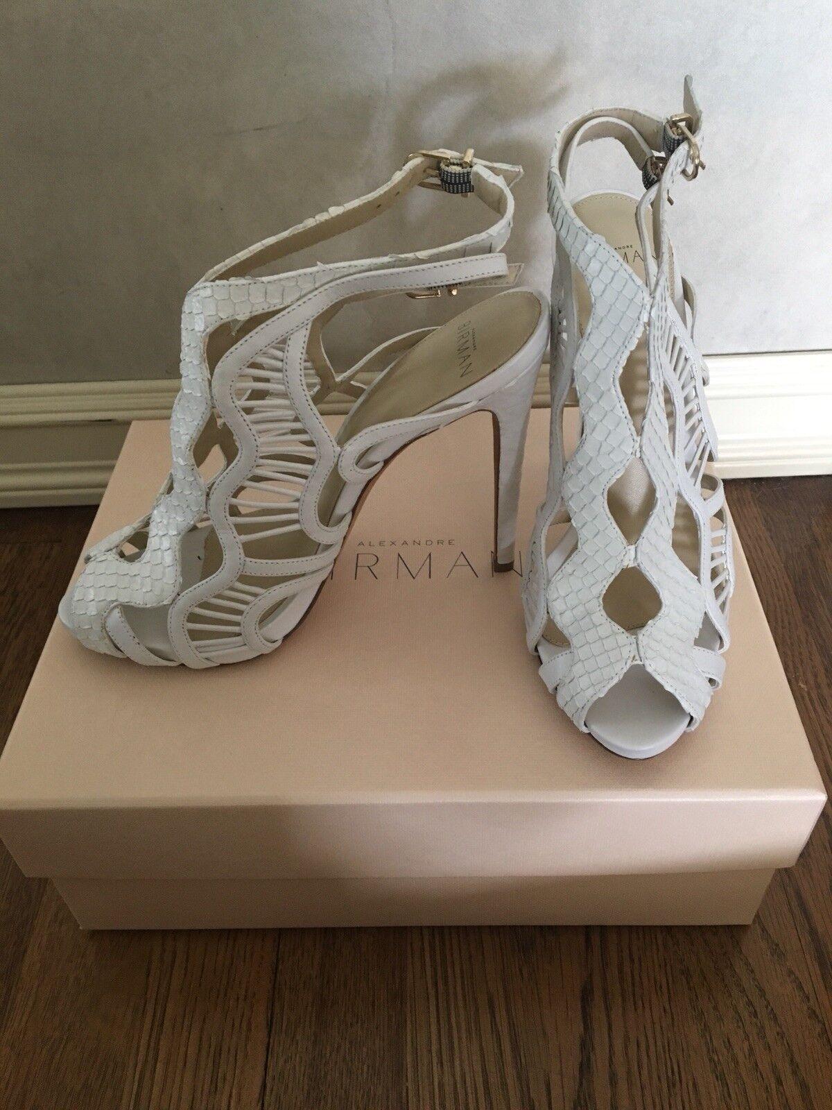 Alexandre Birman Loretta Python Sandal White Snakeskin 8.5US - amazing condition