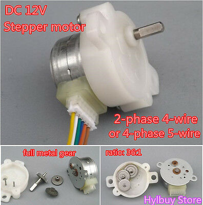 DC/12V 2-phase 4-wire gear stepper motor full metal Geared box step motor