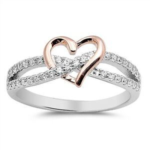 sterling silver 925 infinity rosegold clear cz