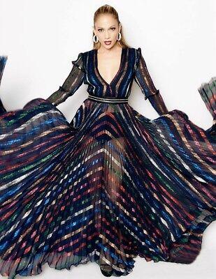 BLUMARINE Metallic Stripe Plunging Beaded Pleated Dress Gown 42 4  6