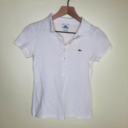 Lacoste Size 36 White Polo Golf Short Sleeve Shirt