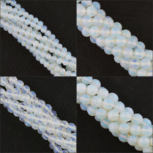 Faceted-Glossy-4mm-6mm-8mm-10mm-White-Opal-Opalite-Round-Loose-Beads-15-039-039-Strand