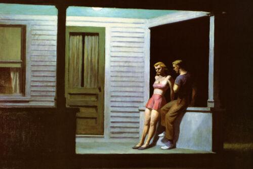Summer Evening Edward Hopper Couple Porch House Vintage Poster Repro FREE S//H