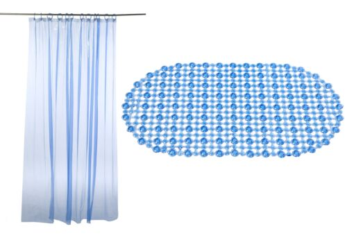 Blue Bath Mat /& Shower Curtain Set 100/% Vinyl Easy Care Wipe Clean Hotel B/&B