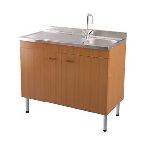 Lavello In Acciaio Con Mobiletto.Dettagli Su Nuovo Lavello Cucina Acciaio Inox 90x50 Con Mobiletto Teak Kit Installazione