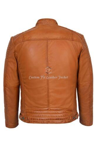 Biker 1829 Paded Napa 100 Soft Leather b Jacket Mens Real Style Tan xgIv8qxwT