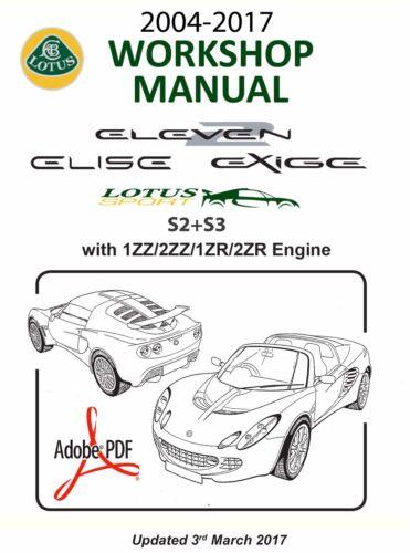Automobilia 2004-2017 S2+S3 LOTUS ELISE EXIGE WORKSHOP MANUAL-1ZZ ...