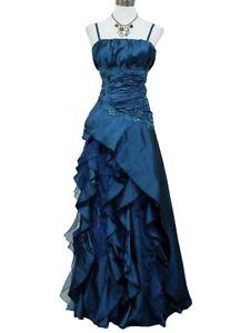 Détails sur Robe de soirée longue bleue à froufrous taille 42,44