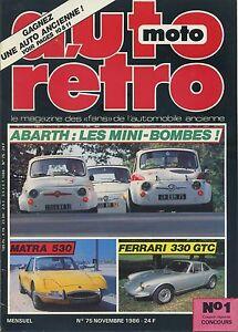 AUTO-RETRO-n-75-NOVEMBRE-1986-ABARTH-MATRA-530-FERRARI-330-GTC