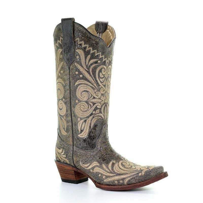Corral Women's Western Cowgirl Distressed Green Beige Filigree Boots L5407