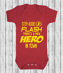 Step Aside Flash There/'s a New Hero Baby Vest Babygrow Novelty Baby Boy Hero