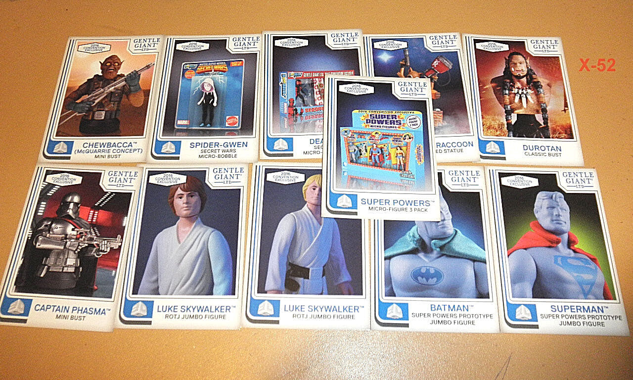 GENTLE GIANT 11 card PROMO set SDCC batman superman luke spider gwen phasma toy