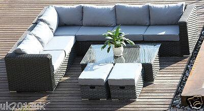 Conservatory  MODULAR 8 Seater Rattan Corner Sofa Set Garden Furniture Dark Grey