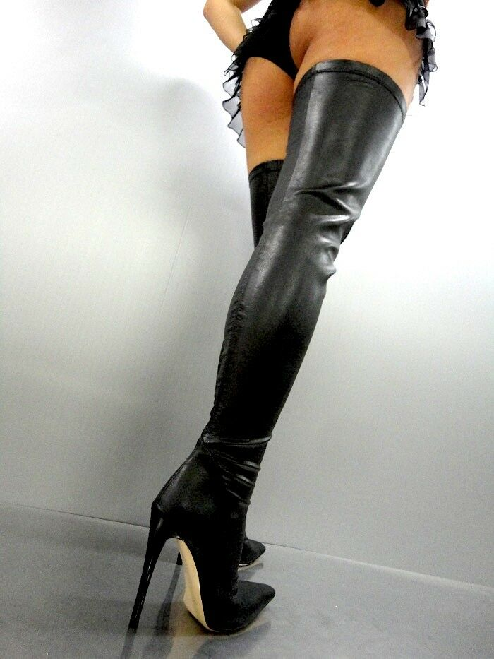 CQ COUTURE EXTREME LUXE STRETCH OVERKNEE SCHWARZ BOOTS STIEFEL LEATHER BLACK SCHWARZ OVERKNEE 39 3f5f4b