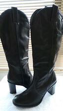 "Sexy! Franco Sarto Boots Black Leather Western Knee High 3"" Heel Side Zip 8.5 M"