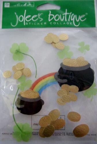 NEW 12 pc POT O/'GOLD Shamrocks Clover Rainbow Leprechaun Eire JOLEE/'S 3D Sticker