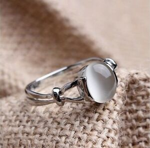Sz610 Bellas Band 18k White Gold GP Moonstone Womens Wedding Ring