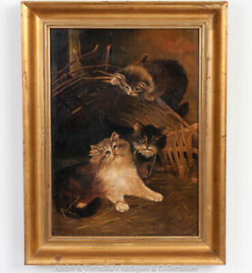 1906-Oil-on-Canvas-after-LILIAN-CHEVIOT-Hide-amp-Seek-Kittens-Cats-Painting-Rare