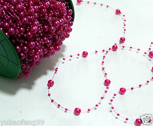 Party-Wedding-Decor-Garland-Acrylic-pearl-Bead-Strand-curtain-1yd-rose-red