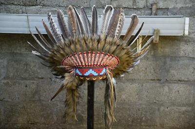 Warbonnet Turkey Feather Headband Brown Native Indian Headdress Handmade