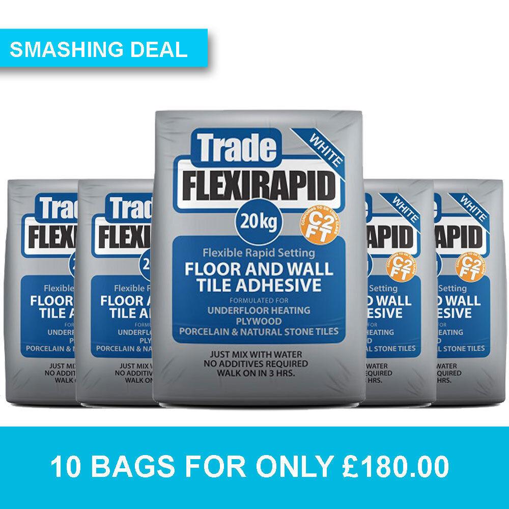 TILEMASTER Trade FlexiRapid WHITE Floor & Wall Tile Adhesive 10 BAG ...