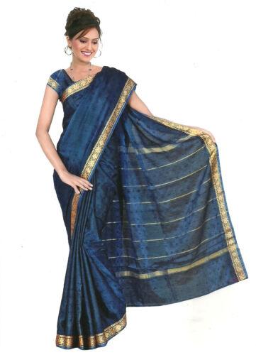 Listo gewickelter Bollywood sari India arco iris azul royal en tamaños de 3