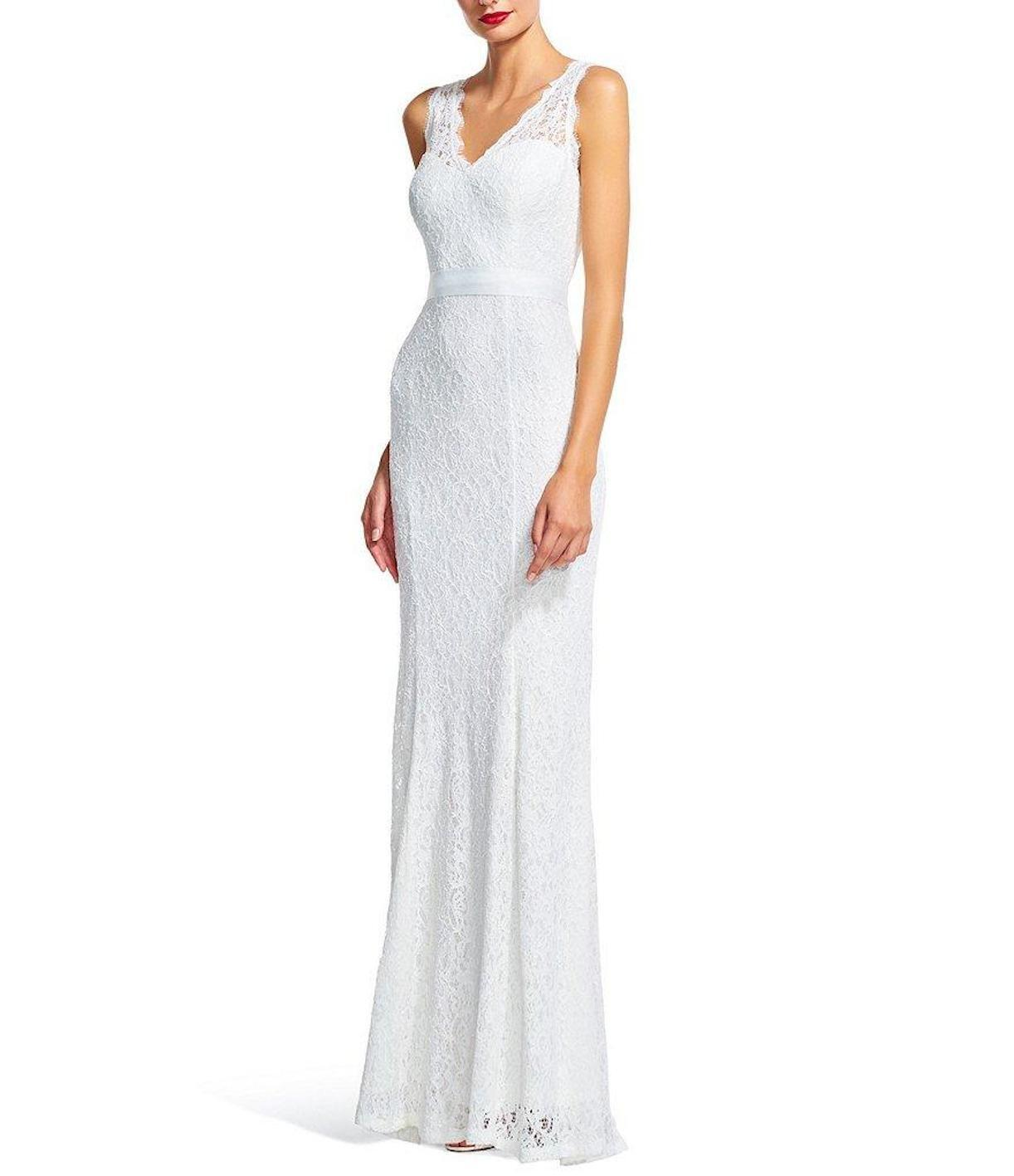 Adrianna Papell 091890120 Scalloped Ivory Lace Long Gown Sz 8 NWT ...