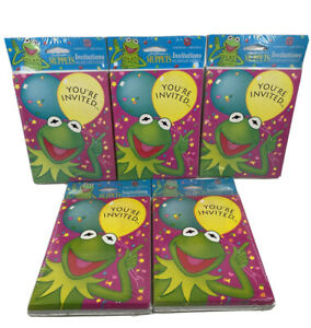 Vtg Jim Hensons MUPPETS Birthday Invitations 5 Pack 40 Cards Envelopes NOS