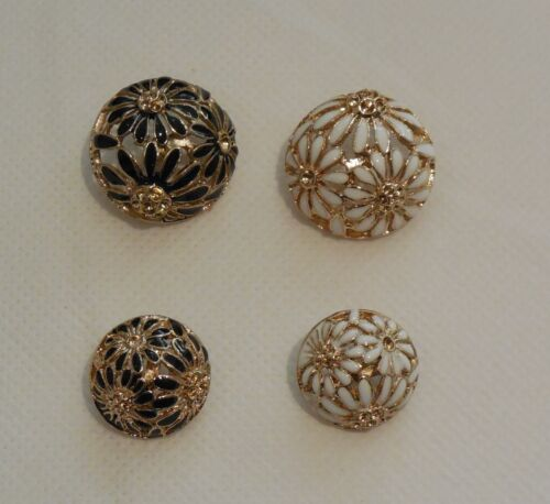 Flower effect metal buttons black white 24mm 18mm By per button