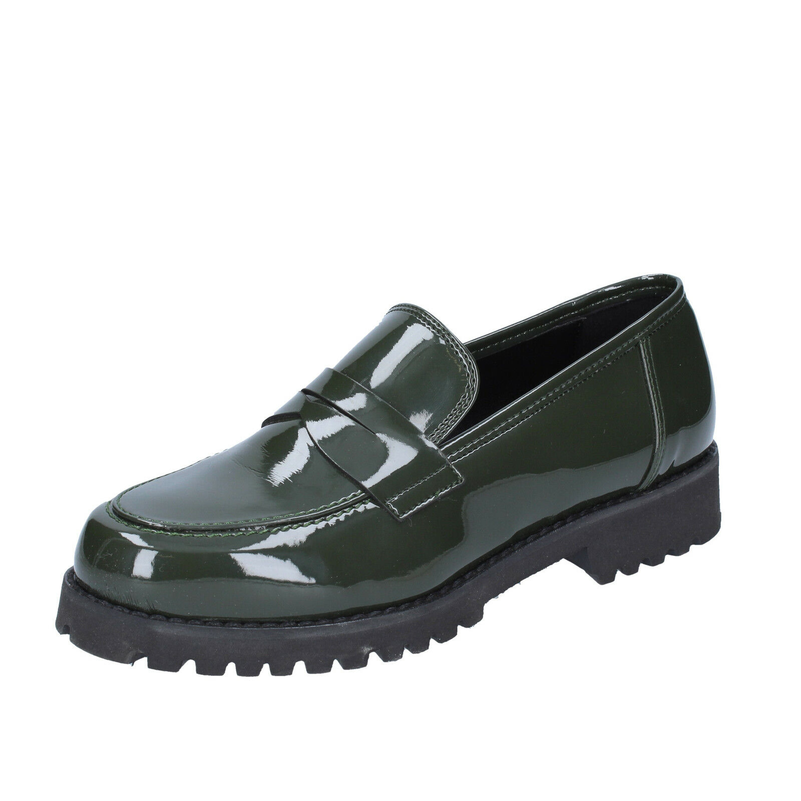 Chaussures femmes Olga Rubini 6 (UE 36) Mocassins vert cuir verni BS841-36